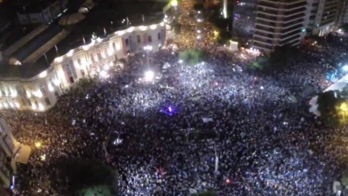 Drone muestra fabulosas imágenes de festejos en Argentina