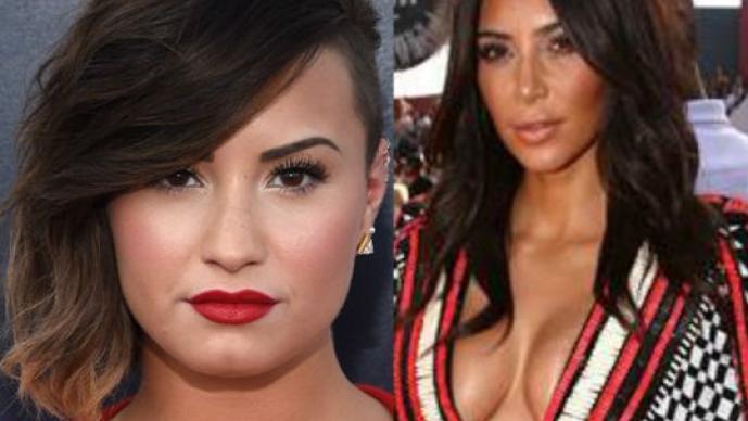 Demi Lovato, Kim Kardashian, escotes, vestidos