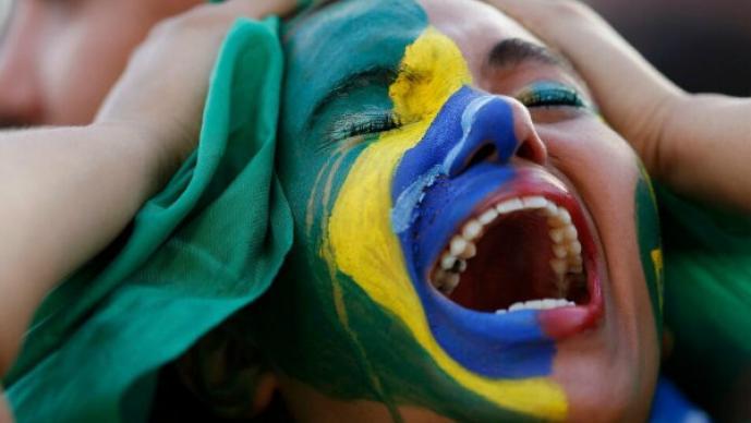 Sufrimiento y llando en los aficionados de Brasil