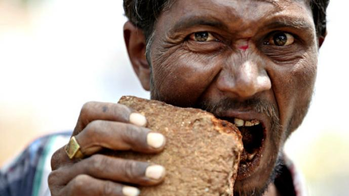 Pakkirappa Hunagundi el hombre come ladrillos para sobrevivir, Pakkirappa Hunagundi