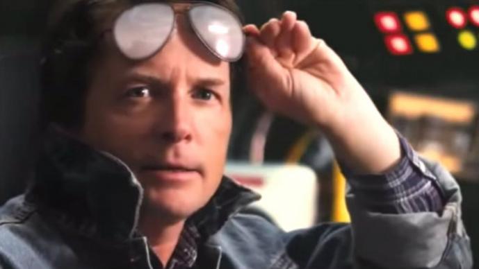 """Michael J. Fox y los personajes de """"Volver al futuro"""""""