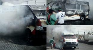 Capturan a dos hombres cuando incendiaban una combi, en Tecámac. Noticias en tiempo real