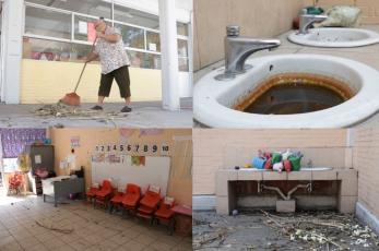 """Conserje conocida como """"La abuelita de los niños"""" limpia escuela en CDMX, previo a regreso"""