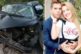 Emir Pabón y su esposa embarazada sufren grave accidente automovilístico