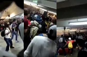 Graban brutal mega pelea entre usuarios y policías en Metro Pantitlán, en plena hora pico