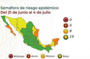 Así quedó el semáforo Covid en México, semana 21 al 27 de junio