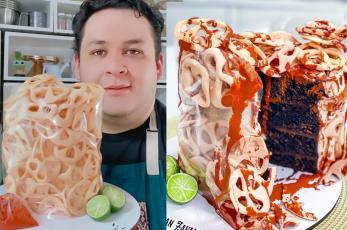 Chef mexicano crea excéntrico pastel en forma de chicharrones, con todo y salsita