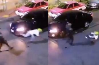 Video capta colapso de asaltante de automovilistas, tras recibir balazos en Iztacalco